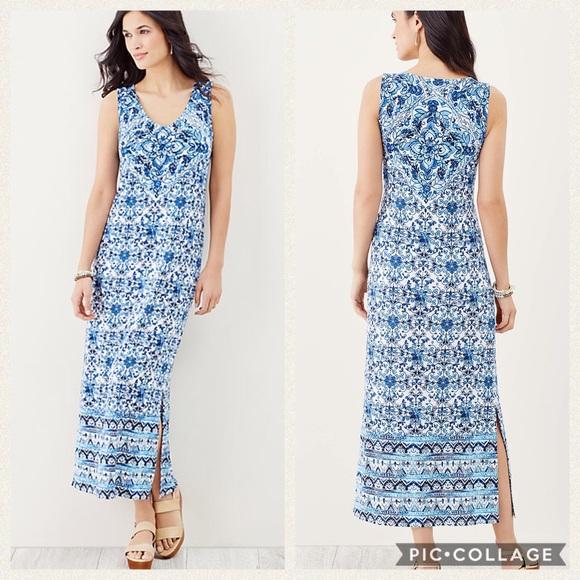 8a7d720eb57 J. Jill Dresses   Skirts - J. Jill blue   white tile print sleeveless